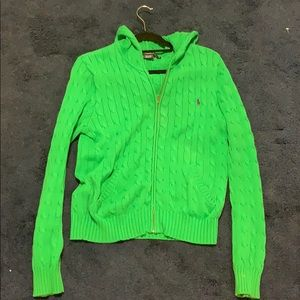 Ralph Lauren Hooded Cable Knit zip up